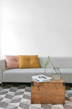 White & other colors Minimalism, Pillows, Living Room, Simple, Table, Inspiration, Furniture, Colors, Design