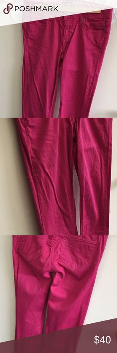"""Paige Peg Skinny Jeans Bright Pink Bright pink skinny jeans in super soft stretch denim; 98% cotton, 2% spandex.  Measurements: inseam: 28"""", rise: 9"""", leg opening: 11"""".  Smoke free home. My cat lets me live with him. PAIGE Jeans Skinny"""