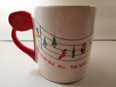 1980 Shafford Original Christmas Mug, Jingle Bells Cup from Japan, Christmas Music Mug by PiccoloPattys on Etsy
