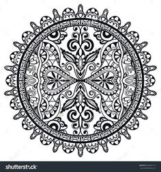 Black And White Mandala Decorative Round Tribal Ethnic Ornament Vector Islamic Arabic Indian Pattern