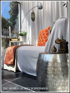 Moroccan style conservatory makeover - The World of Suzy Homemaker | www.suzy-homemaker.co.uk - @SuzyHomemakerUK Conservatory Decor, Moroccan Style, Suzy, Sunroom, Homemaking, Couch, Furniture, Home Decor, Sunrooms