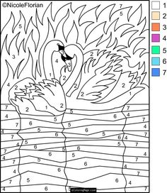color-by-number-swans-in-a-lake-coloring-page-for-kids-printable