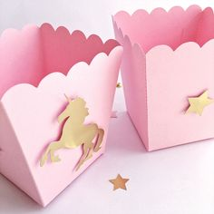 Excited to share the latest addition to my #etsy shop: Unicorn Popcorn Candy Boxes Pink Gold Unicorn 1 st Little Girl Birthday Baby Shower Decorations Unicorn Baby Nursery Party Favor Bags