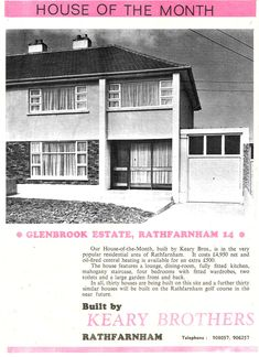 House of the Month 1967 - Glenbrook, Rathfarnham, Dublin 14 - pounds Old Pictures, Old Photos, Dublin City, Central Heating, Back In The Day, Ireland, Black And White, History, Building