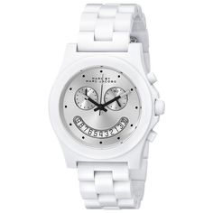 Marc By Marc Jacobs MBM4573 Women's Raver Silver Dial White Plastic Bracelet Chronograph Watch