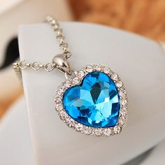 Titanic Ocean Heart Pendant Necklace For Women Crystal Rhinestone Jewelry Gift New Sale