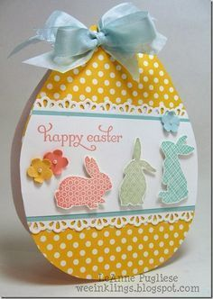 handmade Easter card by LeAnne Pugliese WeeInklings Paper Players ... shaped card ... big Easter egg ... Ears to You bunnies ... pretty pastel colors ... delightful!! ... Stampin'Up!