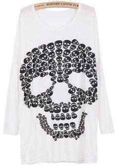 White Long Sleeve Skull Print Loose T-Shirt EUR€11.10
