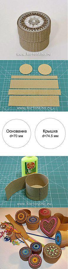 Круглая шкатулка из картона своими руками | КАРТОНКИНО.ru