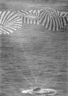 Apollo 9 Splashdown  Command Module Gumdrop splashes down in the Atlantic recovery area 4.5 nautical miles from the prime recovery ship, U.S.S. Guadalcanal, March 13, 1969via: NASA