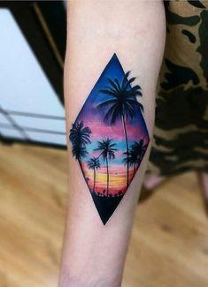28 Ideas landscaping tattoo tatuajes de paisajes is part of Geometric tattoos Foot Patterns - Geometric tattoos Foot Patterns Mini Tattoos, Trendy Tattoos, Body Art Tattoos, Tattoos For Guys, Tatoos, Hawaii Tattoos, Sunset Tattoos, Palm Tattoos, Beach Tattoos