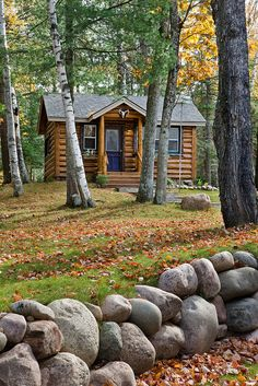 A small cabin is located on the property and finish with the same materials as the main lodge.