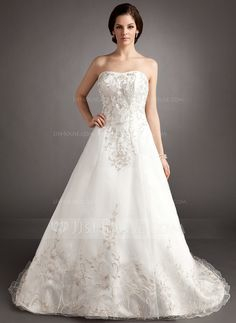 Wedding Dresses - $216.99 - Ball-Gown Sweetheart Chapel Train Organza Satin Wedding Dress With Embroidery Beading (002016404) http://jjshouse.com/Ball-Gown-Sweetheart-Chapel-Train-Organza-Satin-Wedding-Dress-With-Embroidery-Beading-002016404-g16404