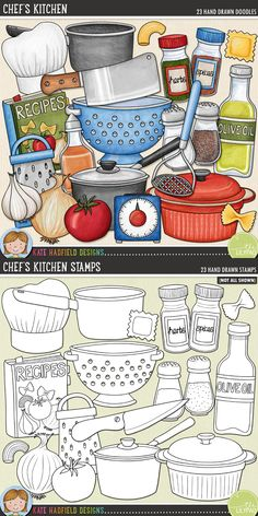 Chef's Kitchen by Kate Hadfield Designs. Created with cooking pages and recipe book projects in mind, Chef's Kitchen is packed with culinary goodies!