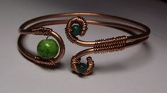 Wire Wrapped Copper Cuff with Green Beads. Starting at $15 on Tophatter.com!