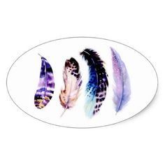 cute colorful feather sticker - craft supplies diy custom design supply special