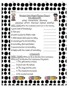 These are review sheets of Grammar and Vocabulary for Unit 1 of Grade 3 of McGraw-Hill Wonders. There are three review sheets for each of the five weeks. These are great for homework, morning work, centers, or even for intervention blocks. I am using them for Homework this year.