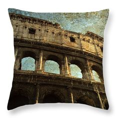 Colossale Edificio Throw Pillow by Micki Findlay - TheSingingPhotographer.com - various sizes, home decor, cushion, rome, italy, colosseum, art, famous