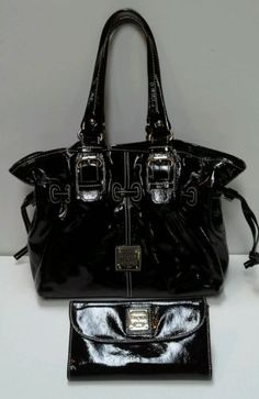 DOONEY & BOURKE CHIARA Black Patent Leather Shoulder/Hand Bag w/matching wallet