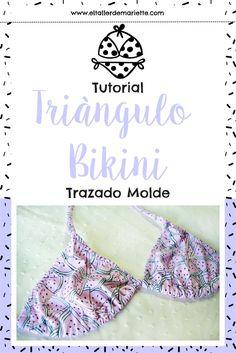 Tutorial: ¿Cómo hacer el molde del Triángulo Bikini?   El Taller de Mariette Bikini 2018, Sewing Lingerie, How To Make Clothes, Sewing Patterns Free, Swimsuits, Swimwear, Sewing Clothes, Bikini Tops, Beachwear