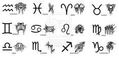 Tribal Zodiac Symbols Tattoo Designs