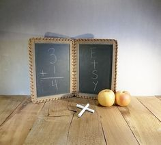 Antique Double School Slate-Blackboard-Chalkboard-School Supply-Writing Tablet-Frame-Toy-Wall Art-Home Decor-Shabby Chic Decor-Collectible on Etsy, $79.08 AUD