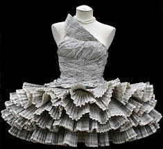 ℘ Paper Dress Prettiness ℘ art dress made of phonebook by Jolis Paon Paper Fashion, Origami Fashion, Dress Fashion, Fashion Art, Fashion History, Daily Fashion, Runway Fashion, High Fashion, Fashion Ideas