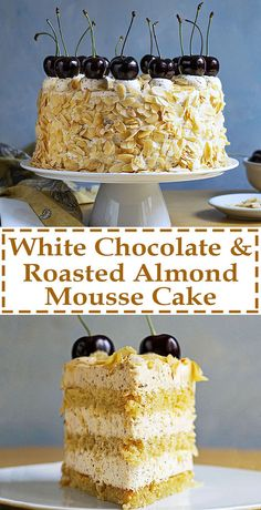 This decadent nougat torte has 3 layers of moist syrupy sponge cake and 3 layers of velvety roasted almond and white chocolate mousse for the ultimate satisfaction! Matcha Mousse, Best Cake Recipes, Dessert Recipes, White Chocolate Mousse Cake, Chocolate Chocolate, Just Desserts, Delicious Desserts, Nougat Torte, Foto Pastel