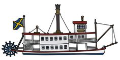 Illustration of Hand drawing of a classic steam paddle riverboat vector illustration vector art, clipart and stock vectors. Steam Boats, Art Google, Paddle, Cincinnati, Vector Art, How To Draw Hands, Clip Art, Cartoon, Ship