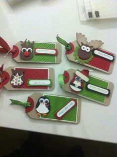 Great tags made with owl punch stampin up.