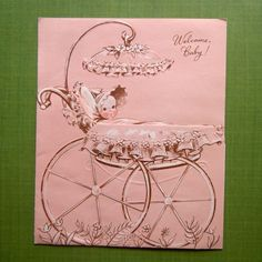 Vintage Mid Century Baby in Carriage Buggy New Baby Peach Greeting Card