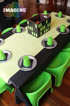 Teenage Mutant Ninja Turtles birthday party table! See more party planning ideas at CatchMyParty.com!