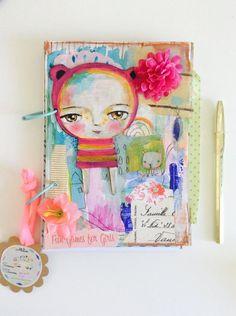 Bear pink girl  Handmade painted art journal by SusanaTavares