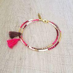 Tendance Joaillerie 2017 Double Multicolor Tassel Bracelet // Pink Taupe Chocolate & Gold // Cute Multicolor Friendship Bracelet