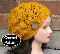 This pattern is worth the $ - It works up super fast (in a few hours) and is the *perfect* fall slouch. Perfect!  CROCHET HAT PATTERN Instant Pdf Download - Lotte Slouch Hat Tam Beret Womens- Permission to Sell