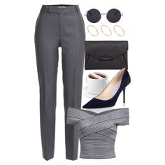 A fashion look from May 2015 featuring short sleeve shirts, slim fit pants and high heel shoes. Browse and shop related looks. Teen Fashion Outfits, Work Fashion, Classy Outfits, Stylish Outfits, Outing Outfit, Look Office, Mode Kpop, Rocker, Looks Chic