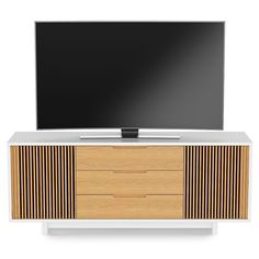 BDI Vertica8558 Satin White With White Oak Tall Media Unit / Cabinet   Up  To 85