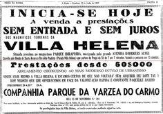 1938 - Anúncio imobiliário. Confluência das atuais avenidas dos Bandeirantes e Vereador José Diniz.