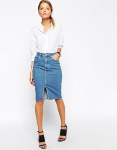 Image 1 ofASOS Denim Split Front Midi Pencil Skirt in Midwash Blue