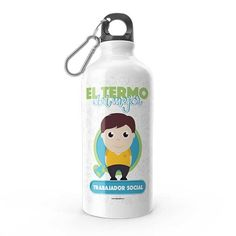 Termo - El termo del mejor trabajador social, encuentra este producto en nuestra tienda online y personalízalo con un nombre. Water Bottle, Drinks, Social, Priest, Carton Box, Store, Crates, Musica, Working Man