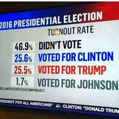 1/4th of country decides who's President...seriously?! Non voters and 3rd party voters...this was NOT the election to take a stance against dems or republicans UGH