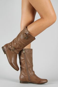Meley-5 Buckle Round Toe Riding Mid Calf Boot $35.90