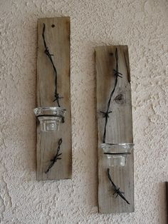Items similar to Handmade Reclaimed Pallet Wood Sconces on Etsy Barn Wood Crafts, Old Barn Wood, Rustic Crafts, Pallet Crafts, Wooden Crafts, Rustic Wood, Old Wood Projects, Reclaimed Wood Projects, Barbed Wire Decor