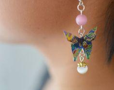 Earrings origami / butterflies / Japanese paper