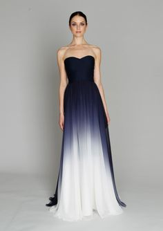 Monique Lhuillier Pre-Fall 2011. Reverse dip-dye look.