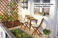 ASKHOLMEN drveni set uklapa se u najmanje prostore i ostavlja mjesta za mali kutni vrt u kojem će tvoje sadnice zaživjeti. :) www.IKEA.hr/ASKHOLMEN_balkonski_stol_i_stolice