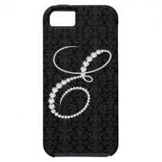 Elegant Letter E Sparkling Diamonds-Monogram iPhone 5 Cases