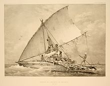 Sailors of Melanesia in the Pacific Ocean, 1846 Madagascar, Mass Migration, Islands In The Pacific, Pacific Ocean, Outrigger Canoe, Polynesian Culture, Tahiti, Southeast Asia, Sailing Ships