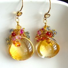 Yvette II Earrings - Smooth Citrine Heart Briolettes with Sapphire Briolette Frills