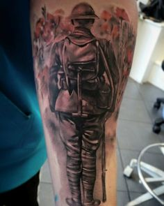 Memorial remembrance soldier tattoo sleeve with red poppies Army Tattoos, Military Tattoos, Leg Tattoos, Sleeve Tattoos, Cool Tattoos, British Army Tattoo, Canadian Tattoo, Remembrance Tattoos, Memorial Tattoos